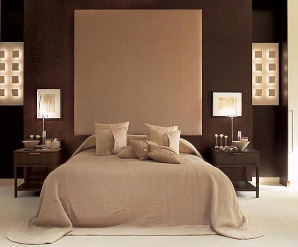 дизайн спальни в шоколадно-бежевых тонах фото