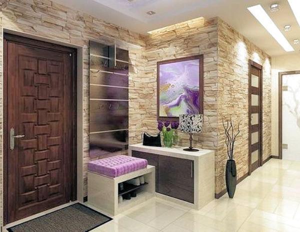 отделка стен декоративным камнем в прихожей фото 4