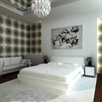 дизайн комнаты в черно белых тонах фото