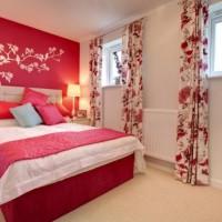 дизайн спальни с обоями двух цветов фото 15