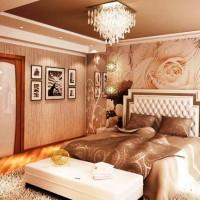 дизайн спальни с обоями двух цветов фото 24