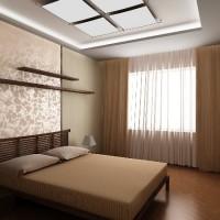 дизайн спальни с обоями двух цветов фото 30