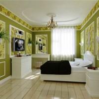 дизайн спальни с обоями двух цветов фото 31