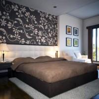 дизайн спальни с обоями двух цветов фото 43