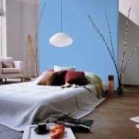 дизайн спальни с обоями двух цветов фото 46