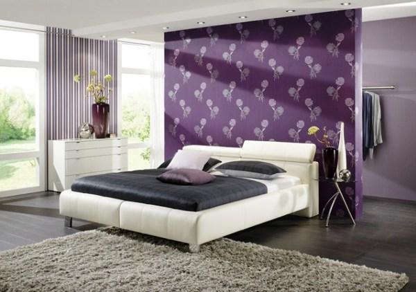 дизайн спальни с обоями двух цветов фото