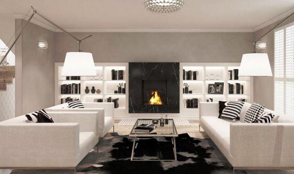 гостиная в белом цвете фото
