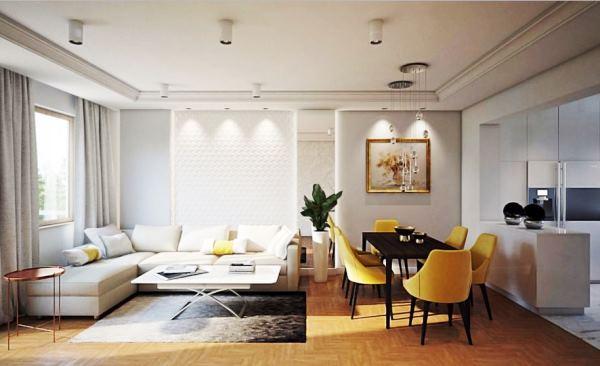 интерьер гостиной в белом цвете фото