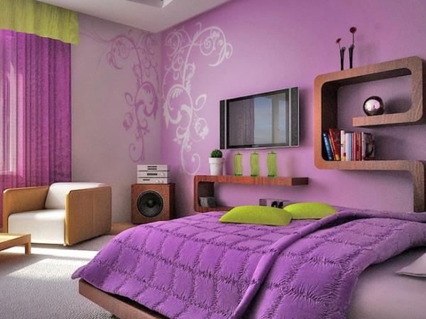 как красиво наклеить обои в спальне двух цветов фото 2