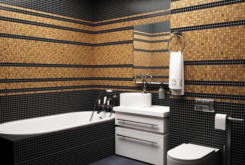 коричневая мозаика в ванной