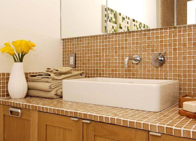 столешница из мозаики в ванной фото