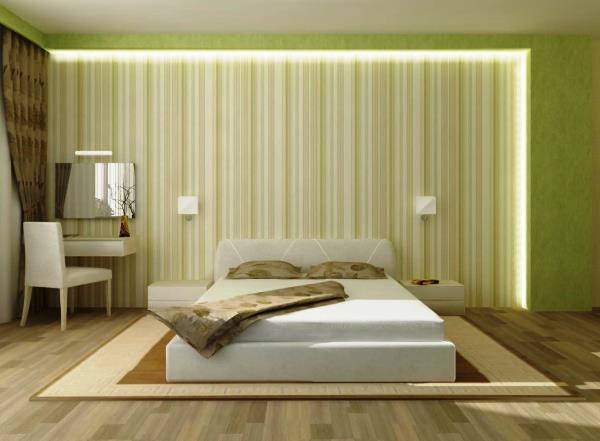 подбор обоев для спальни двух цветов фото