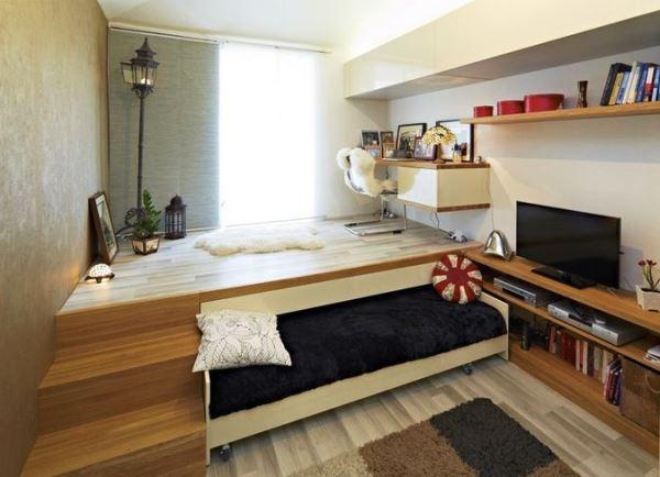 подиум с выдвижной кроватью