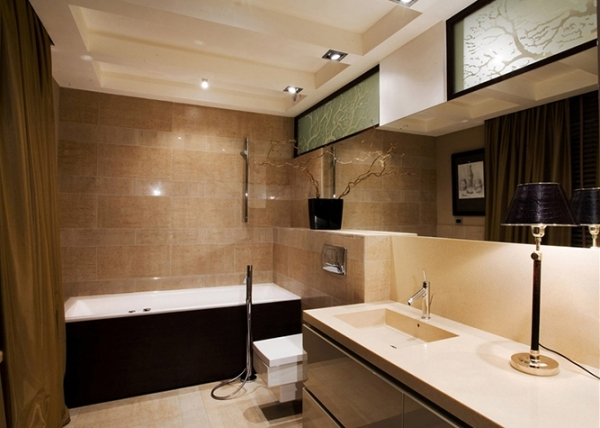 ванная комната в коричнево-бежевых тонах фото
