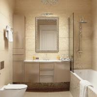 ванная в бежевых тонах фото 11