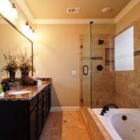 ванная в бежевых тонах фото 14