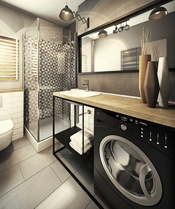 встроенная стиральная машина в ванной комнате фото