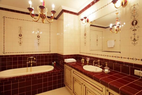 бордовая ванная фото 7