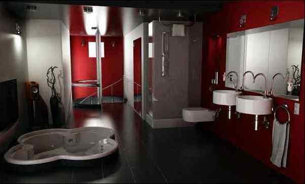 бордовая ванная фото