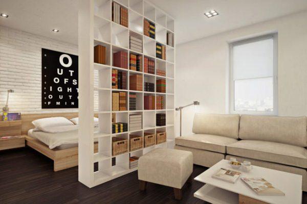 зонирование комнаты на спальню и гостиную фото 11