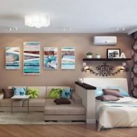 зонирование комнаты на спальню и гостиную фото 22