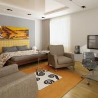 зонирование комнаты на спальню и гостиную фото 24