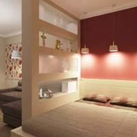 зонирование комнаты на спальню и гостиную фото 45