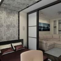 зонирование комнаты на спальню и гостиную фото 58
