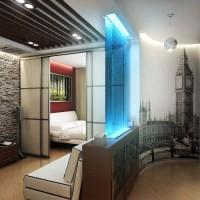зонирование комнаты на спальню и гостиную фото 59