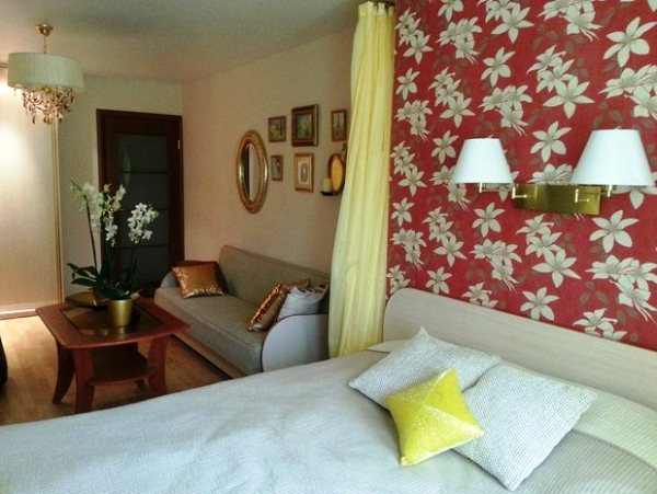 зонирование комнаты на спальню и гостиную фото 7