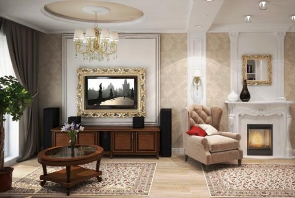 Интерьер классической гостиной в квартире фото