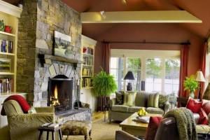 камин в интерьере гостиной фото
