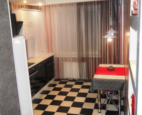 длинные шторы на кухню фото