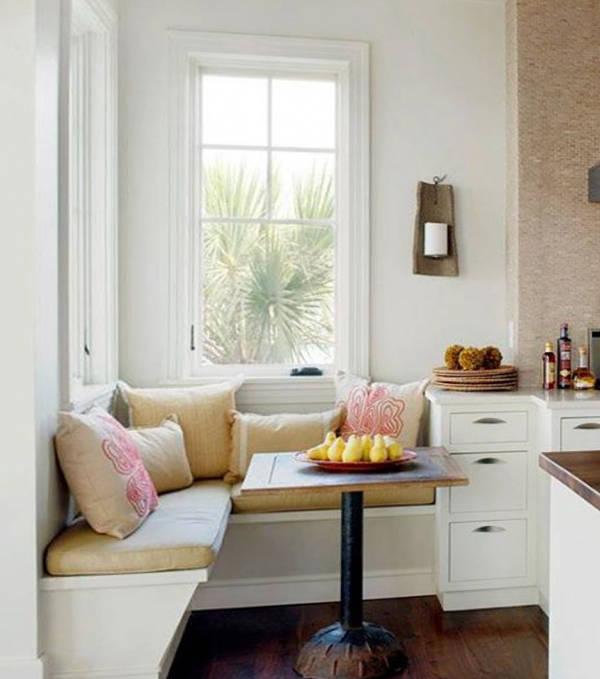 дизайн кухни с мягким уголком фото