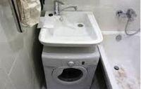 стиральная машина под раковиной в ванной фото