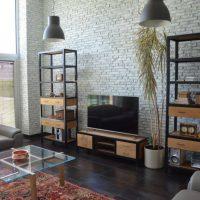 дизайн гостиной в стиле лофт фото 24