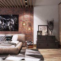 дизайн гостиной в стиле лофт фото 31