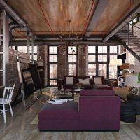 дизайн гостиной в стиле лофт фото 5