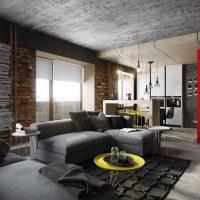 дизайн гостиной в стиле лофт фото 60