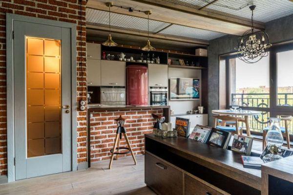 гостиная в стиле лофт фото 13