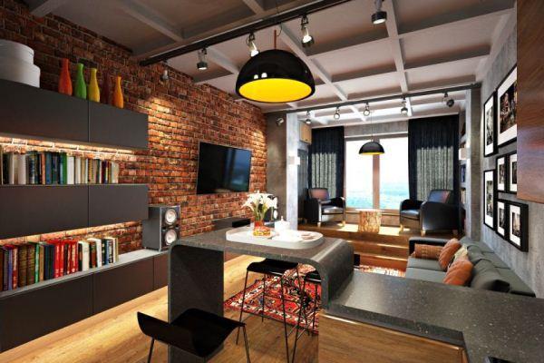 гостиная в стиле лофт фото 19