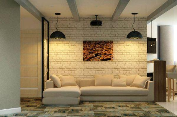 гостиная в стиле лофт фото 9