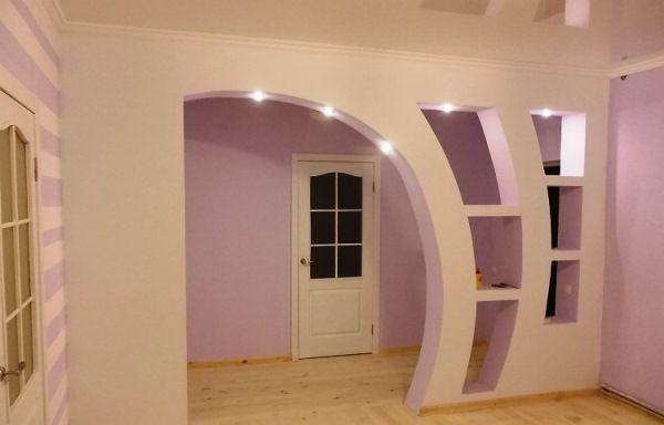 Межкомнатные арки из гипсокартона с подсветкой фото