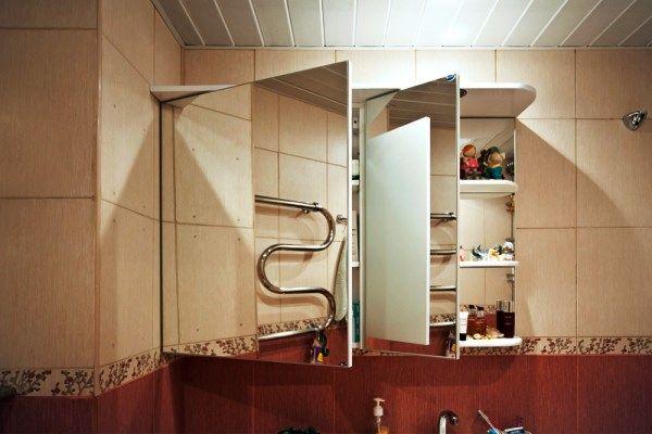 Зеркало для ванной комнаты с полками фото