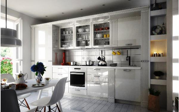 современная прямая кухня фото