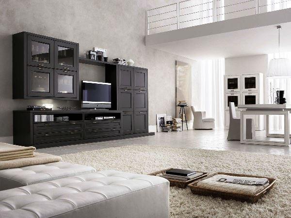 черно белый интерьер гостиной фото 12