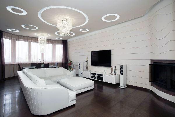 черно белый интерьер гостиной фото 14