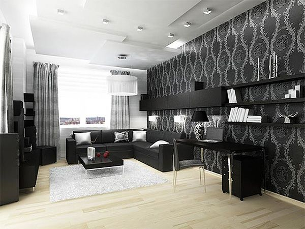 гостиная с черно белыми обоями фото