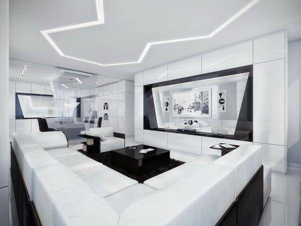 черно белый интерьер гостиной фото 16