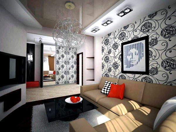 черно белый интерьер гостиной фото 3
